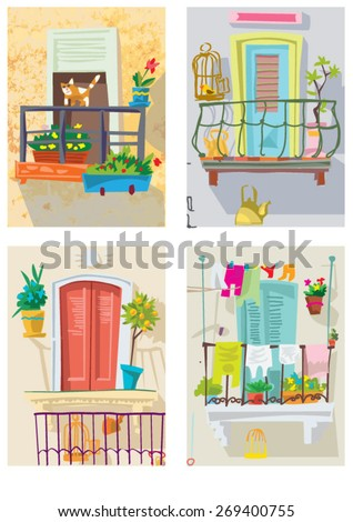 set of cute balconies cartoon vector