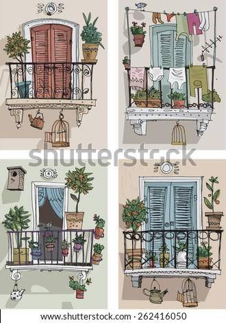 set of cute balcony   cartoon