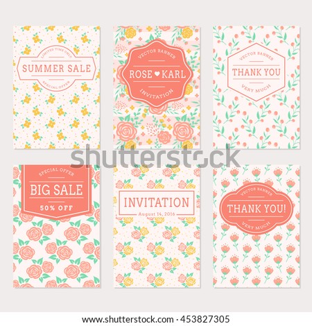 set of cute banners with floral
