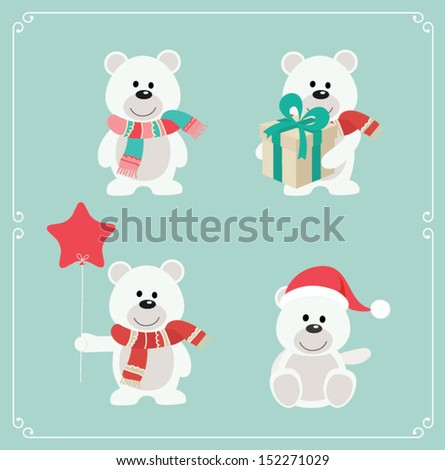 set of cute bears vector