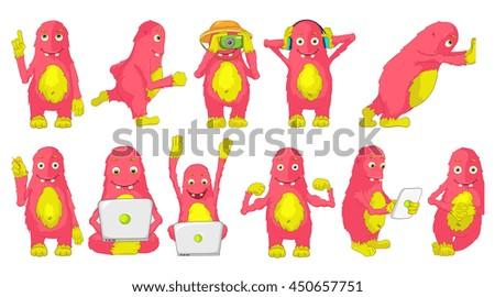 set of cute big pink cheerful
