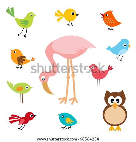 Set of cute birds - stock vector