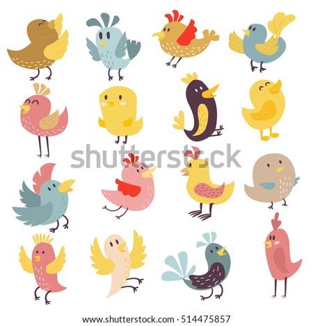 set of cute birds hand drawn