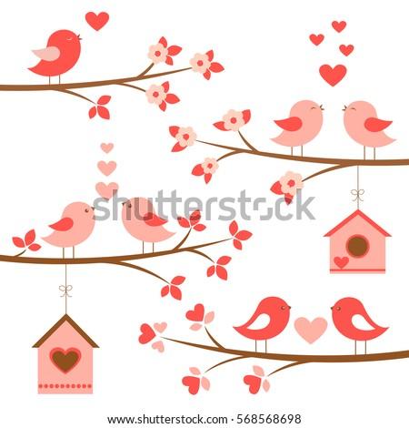 set of cute birds in love on...