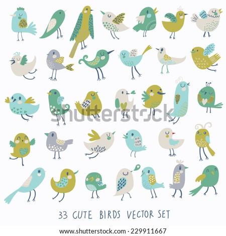 set of 33 cute birds in vector