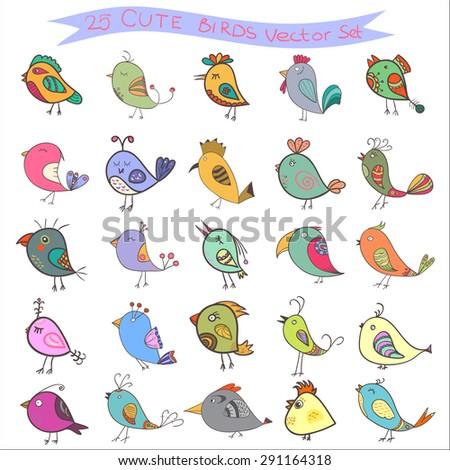 set of 25 cute birds in vector