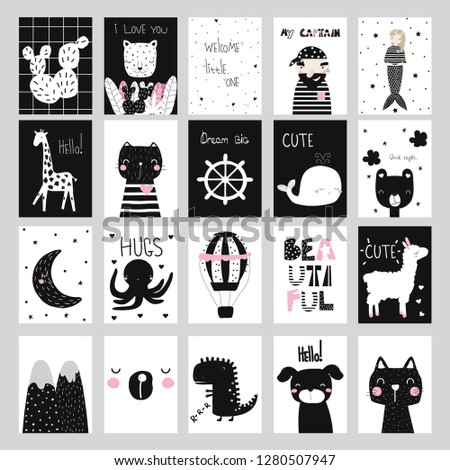 Set of cute black and white cards in nordic style. Vector hand drawn illustration.