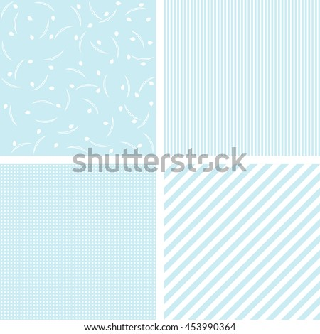 Set of 4 cute blue vector patterns