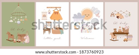 Set of cute boho baby cards in Scandinavian style. Cartoon doodle kids clipart for baby shower invitation card, poster. Editable vector illustration.
