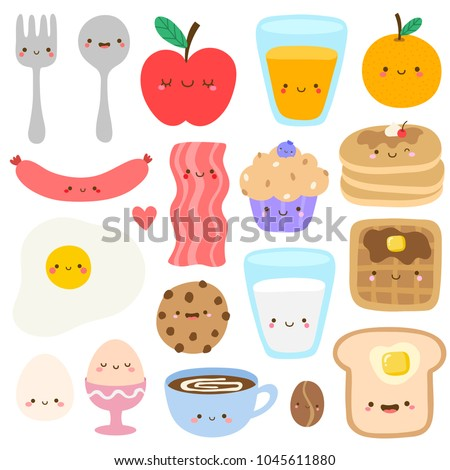 Set of cute breakfast vector set. Kawaii smiling happy face food icon illustration. Spoon, fork, apple, orange juice, bacon, sausage, milk, toast, waffle, pancake, coffee, eggs, muffin, cookie.