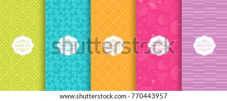 Set of Cute bright seamless patterns. Vector illustration bright design. Abstract seamless geometric pattern on vibrant background