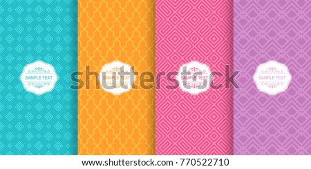 Set of Cute bright seamless patterns. Vector illustration bright design. Abstract seamless geometric pattern on vibrant background. Oriental pattern