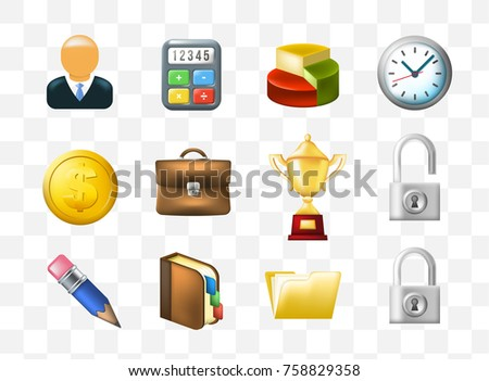 Set of Cute Business Icons on Transparent Background . Isolated Vector Illustration