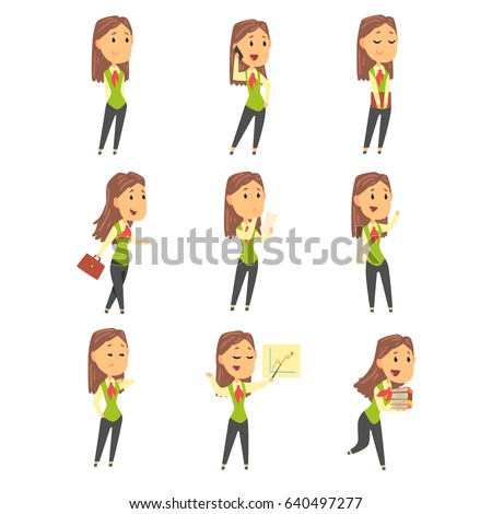 Set of cute businesswoman characters in different poses. Colorful cartoon vector Illustration #640497277