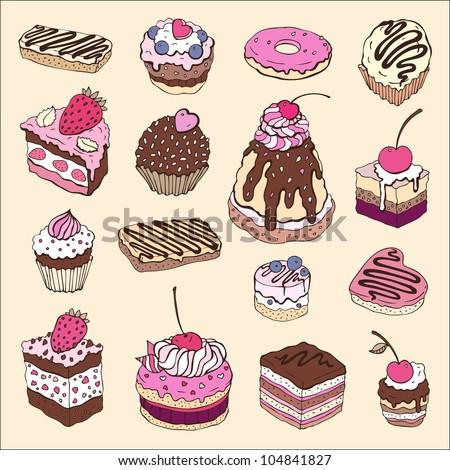 Set of cute cake. Multicolored Vector illustration