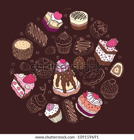 Set of cute cake. Multicolored Vector illustration