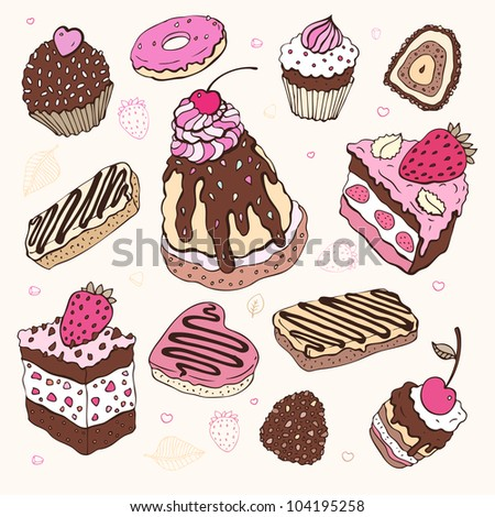 Set of cute cake. Vector illustration