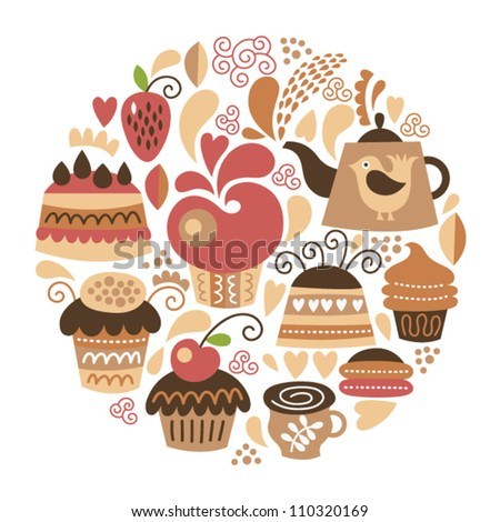 set of cute cakes