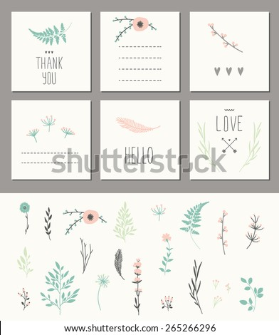 set of 6 cute card templates