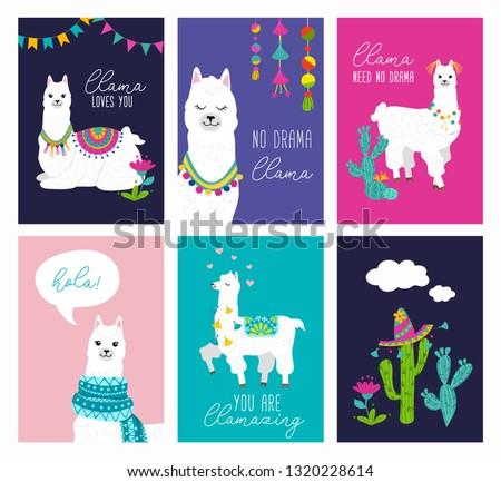 Set of cute card with alpacas. Inspirational llamas posters with colorful design and inspirational quotes. Llama loves you. No drama llama. Hola! You are llamazing. Vector llama illustration