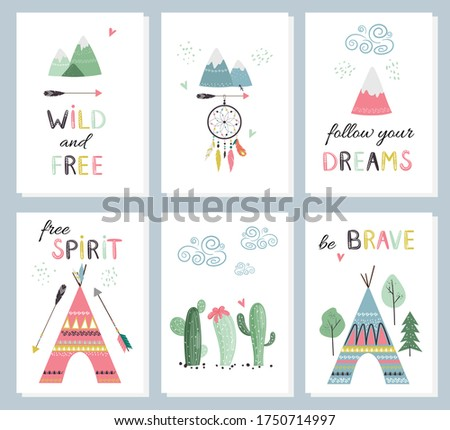 set of cute cards with hand