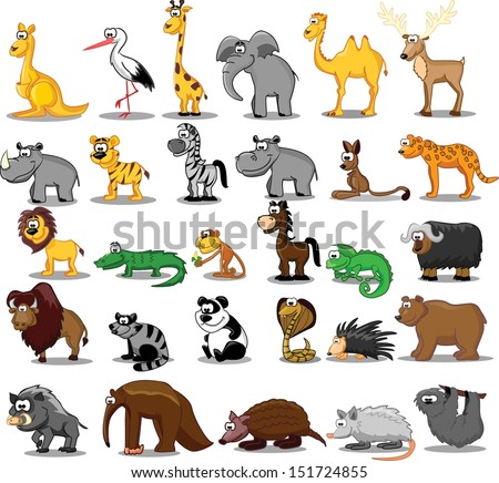 set of cute cartoon animals - Images Cartoon Animals