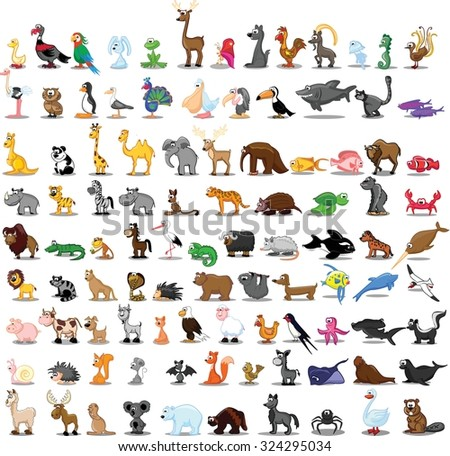 set of 100 cute cartoon animals