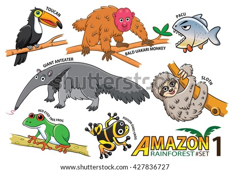 set of cute cartoon animals and