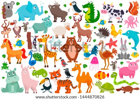 Set of cute cartoon animals. Vector illustration. #1444870826