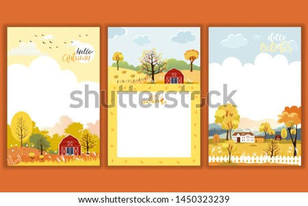 Set of Cute cartoon Autumn landscape farm fild with copy space, Vector Hello Autumn with forest tree, Autumn or Fall season for Banner, Sale, Card and template background