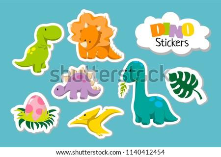 Set of cute cartoon baby dinosaur icon set - tyrannosaurus, triceratops, pterodactylus, stegosaurus, diplodocus, egg, monstera leaf. For logo, poster, banner. For historic event, dino party invitation