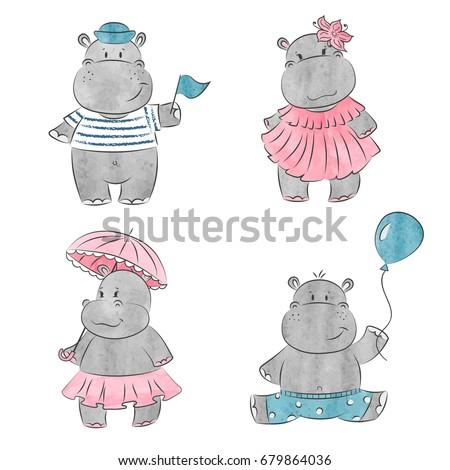 Set of cute cartoon baby Hippo. Vector watercolor illustration.