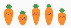 Set of cute cartoon carrots icon isolated on white background vector illustration.