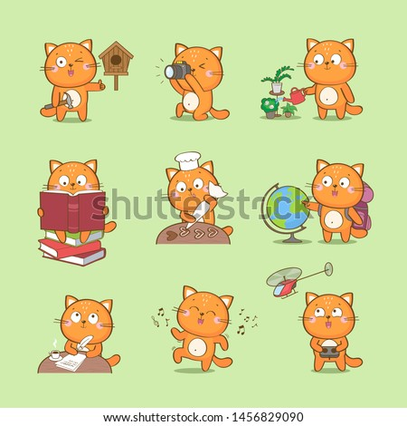 Set of cute cartoon cat character representing different hobbies: photography, reading, culinary, travel, craft, writing, dance, home gardening