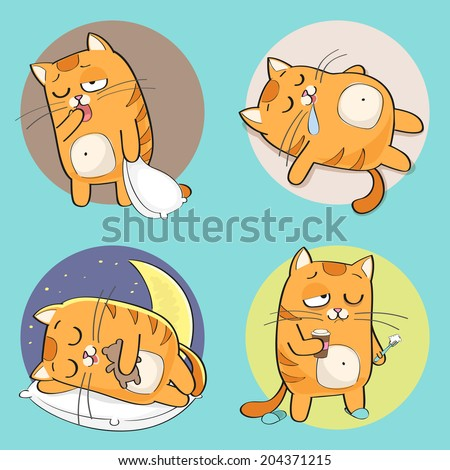 Set of cute cartoon cat in various poses