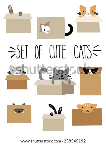 set of cute cartoon cats in