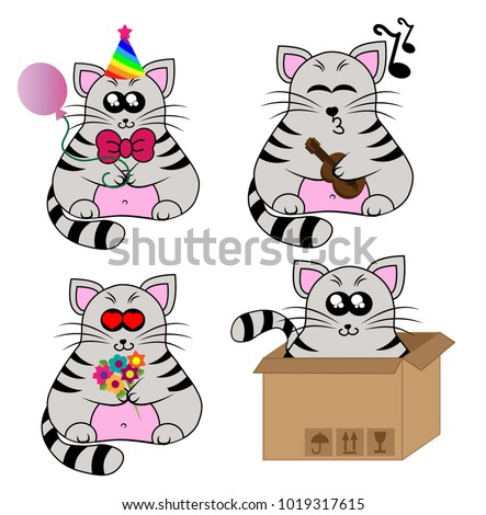 set of cute cartoon cats on a