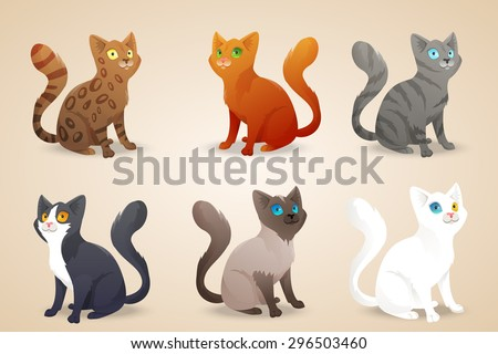 set of cute cartoon cats with