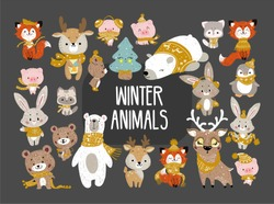 Set of cute cartoon character illustration for christmas and new year celebration. Winter woodland animals in a scarf snd hat. Vector set.