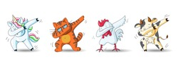 Set of cute cartoon characters in dub dance poses. Hand drawn unicorn, cat, chicken, cow doing dabbing. Vector Illustration for kids isolated on white background.