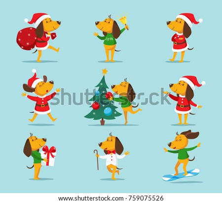 Set of cute cartoon Christmas or New Year dogs in Santa hat vector illustration clipart. Funny yellow dog, the symbol of New Year 2018, in different poses isolated on background.