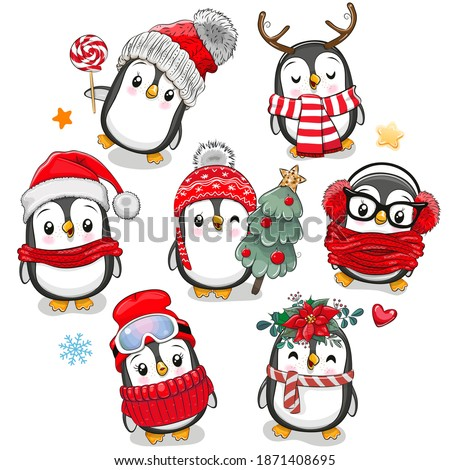 Set of Cute cartoon Christmas Penguins on a white background
