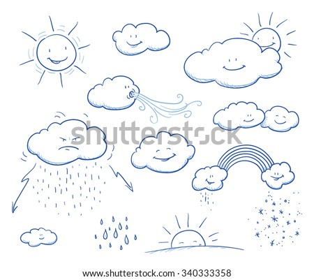 set of cute cartoon clouds and