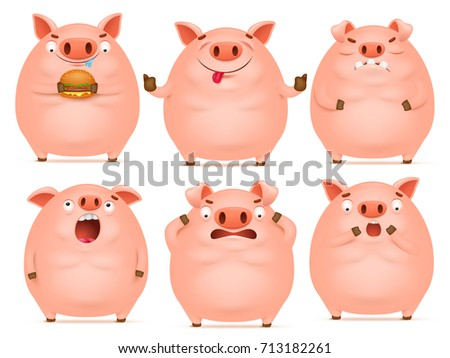 Set of cute cartoon emotional pink pig characters. Vector illustration