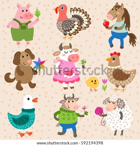 Set of cute cartoon farm animals vector illustration