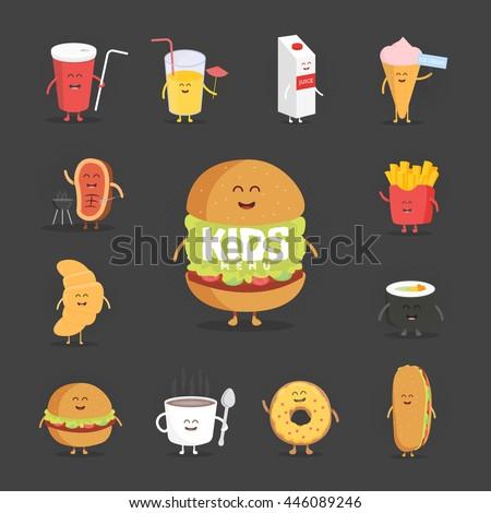 set of cute cartoon fast food