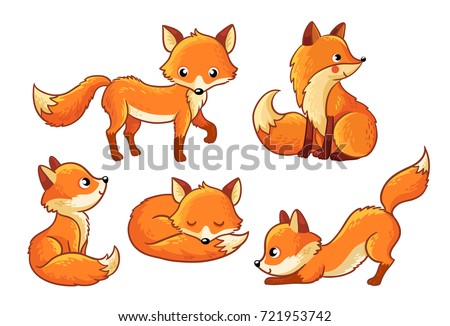 Set of cute cartoon foxes in cartoon style. Vector illustration with a fox on a white background.