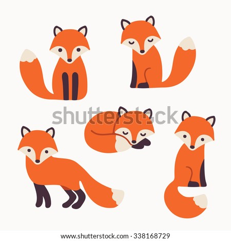 set of cute cartoon foxes in