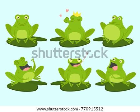set of cute cartoon frogs cute