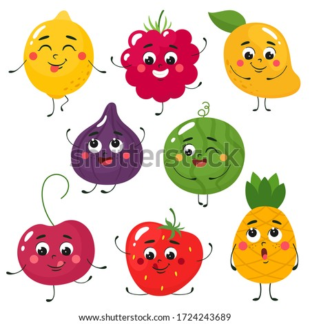 Set of cute cartoon fruits. Vector isolates in cartoon flat style on a white background.